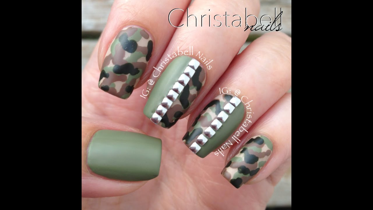 Christabellnails camo nails tutorial with studs youtube prinsesfo Choice Image