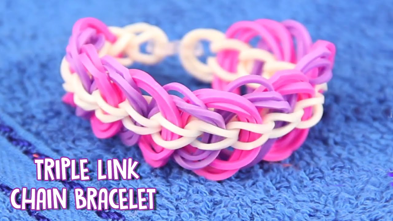 How To Make Rubber Band Bracelet A Easy Triple Link Chain Without Loom