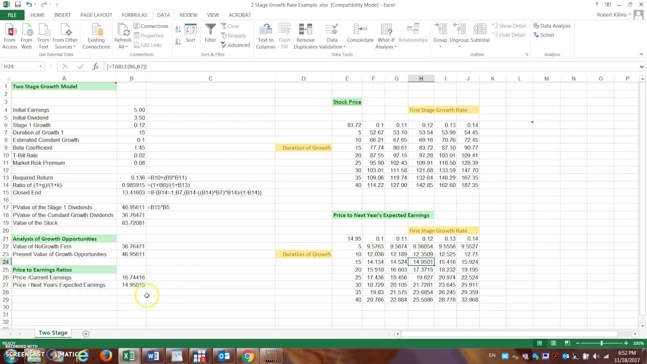 Two Stage Dividend Growth Example Excel Youtube