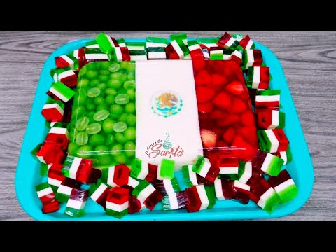 Como hacer Gelatina Tricolor Encapsulada con Fruta (Bandera de Mexico)