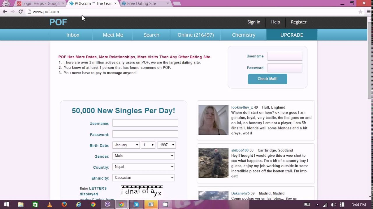 Plentyoffish.com login password