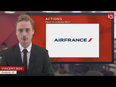 Bourse - Action Air France KLM, profite d'un relèvement de JPMorgan - IG 21.11.2017