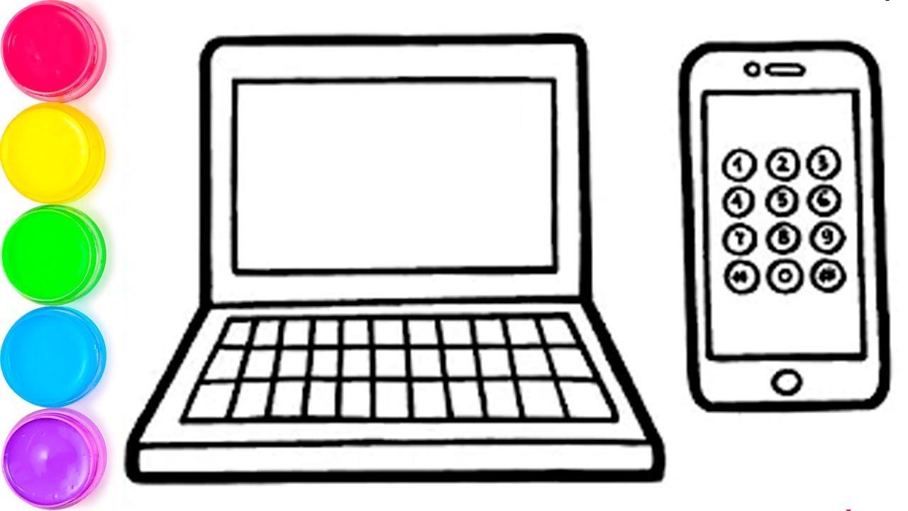Pelajari Menggambar Dan Mewarnai Steve IPhone Dan Laptop Untuk Anak Anak