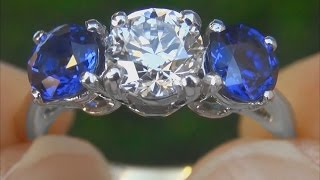 Tiffany & Company VS1/E Diamond & Cornflower Blue Sapphire Engagement Wedding 3 Stone Ring - A141513