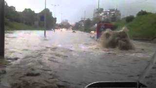 Ruse Bulgaria Street sewer system flood video