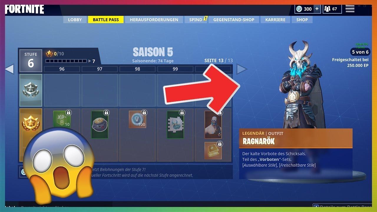 Alle Skins Und Items Season 5 Battle Pass Level 100 Fortnite