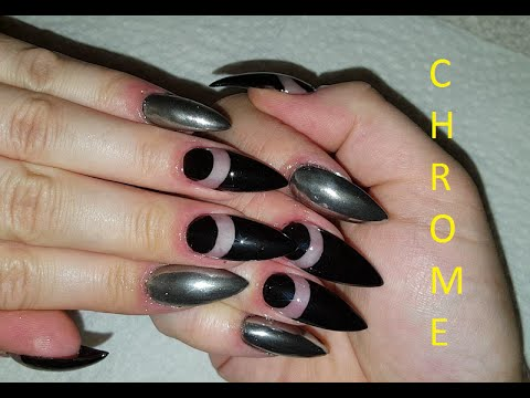 How To Chrome Nails Black And Silver Acrylic Nail Design