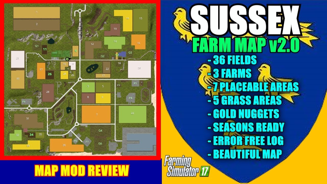 Farming Simulator 17 - Sussex Farm Map v2 0 0 3 (updated link) `Map Mod  Review` by Nick The Hick
