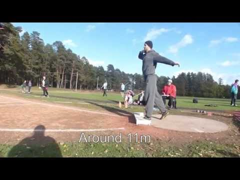 Competing in shot put for fun