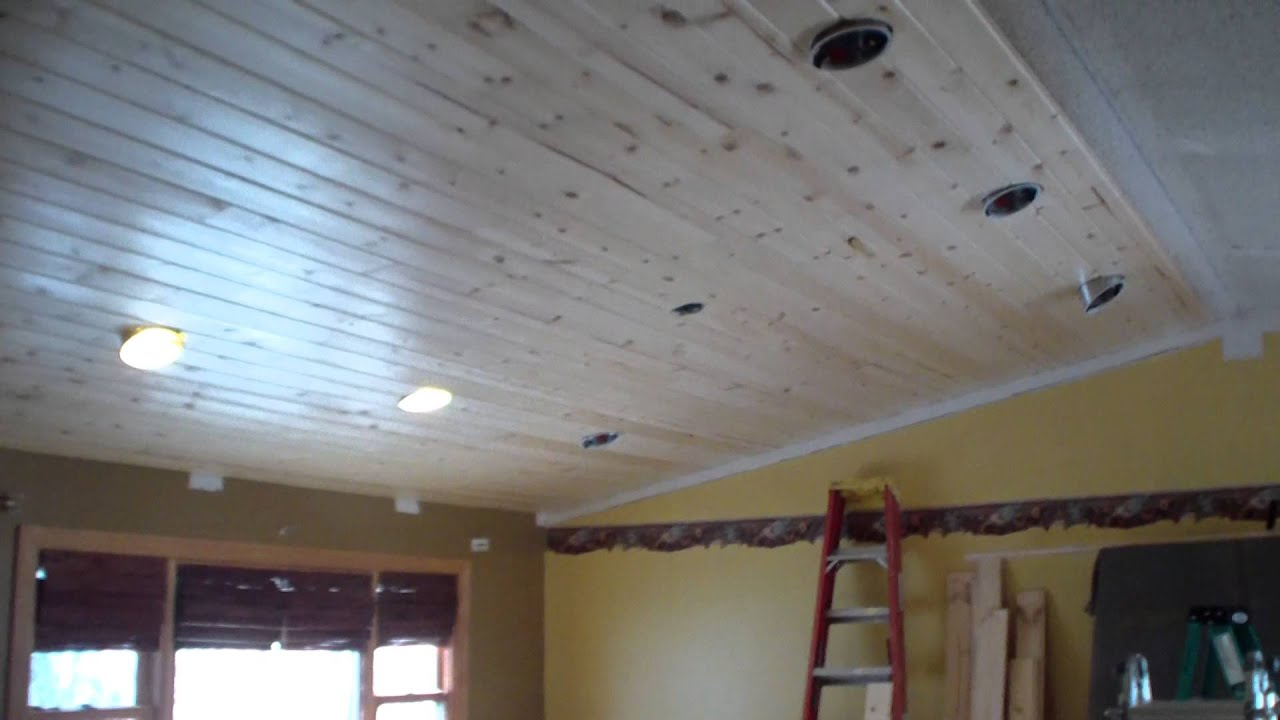 Tongue & Groove Pine Ceiling installation - YouTube