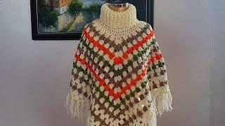Boğazlı Panço / Crochet Cowl Neck Poncho
