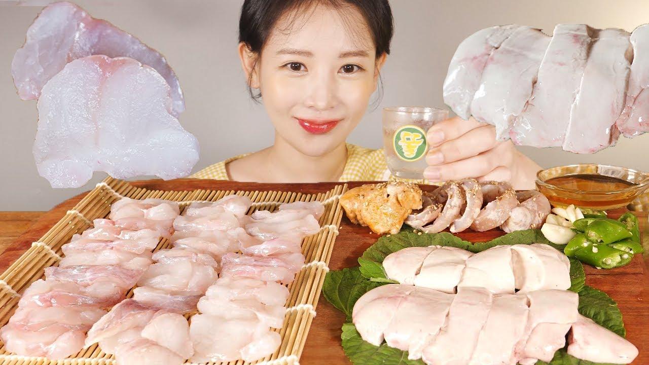 아귀 애(간), 아귀회, 아귀대창 그리고..🍶 먹방 Raw Monkfish, Liver, Stomach  [eating show]mukbang korean food