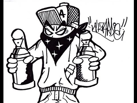 How to Draw a graffiti character holding spraycans.