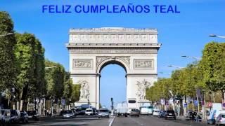Teal   Landmarks & Lugares Famosos - Happy Birthday