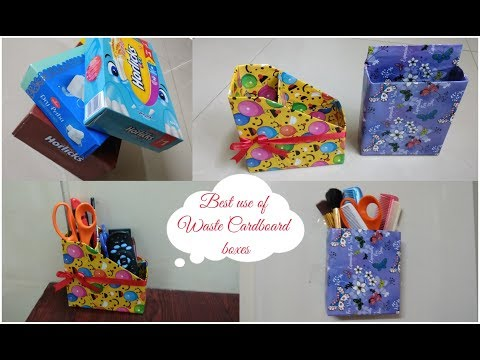 DIY/Two Best Ways to Reuse Cardboard Box/Best Out of Waste Boxes/Desk Organiser from Waste Materials