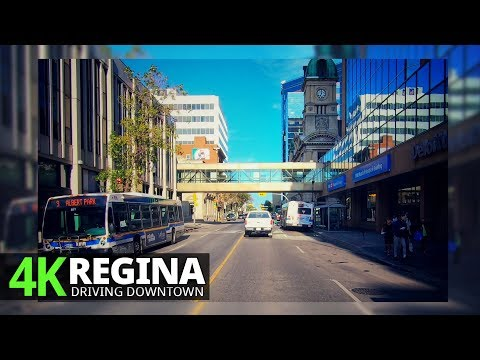 Regina 4K60fps - Driving Downtown - Saskatchewan, Canada