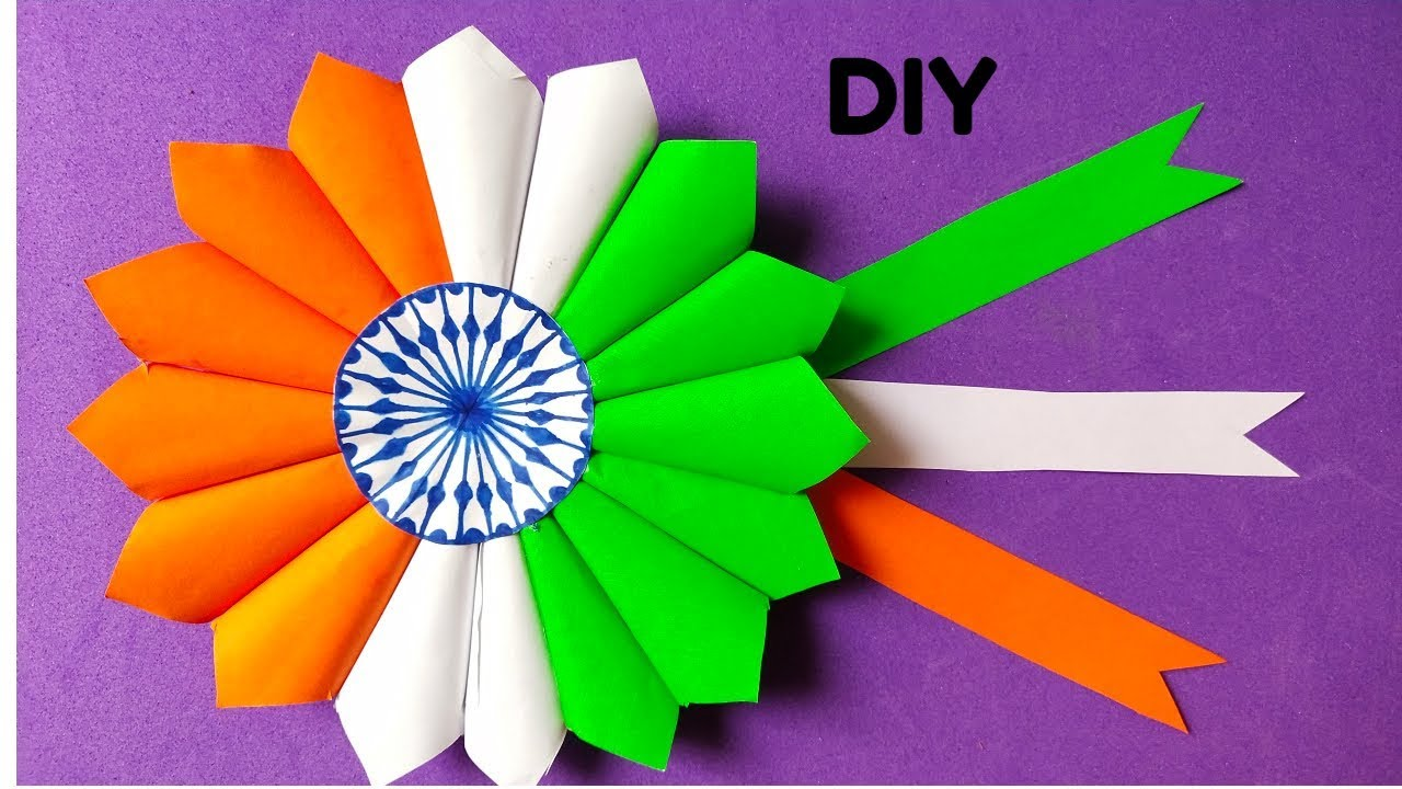 How To Make Indian Tricolour Budge Diy Independence Craft Ideas Diy Republic Day Craft Youtube