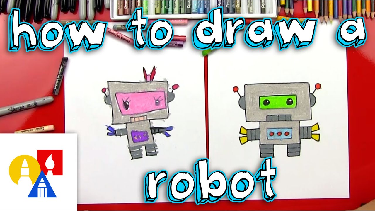 How To Draw A Cartoon Robot Youtube