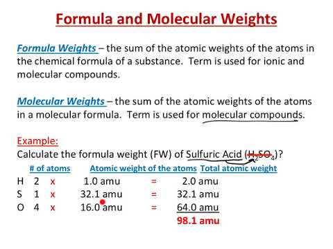How to formula weights, molecular weights, and percent composition