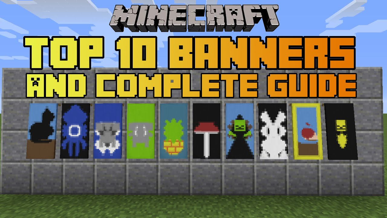 minecraft top 10 banner designs! with tutorial!  youtube