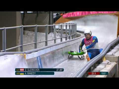 Ukraine's Andriy Mandziy (Андрей Мандзий) falls off his luge, gets back on, finishes his run