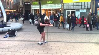 Belfast Buskers: Jamie Knight, freestyle football player in action