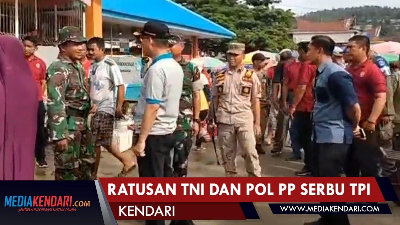 Ratusan TNI dan POL PP Serbu TPI dan Pelabuhan Wawonii
