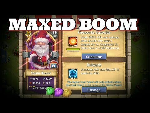 Castle Clash Santa Boom 10/10 Fireworks Bazooka 8/8 Bulwark!