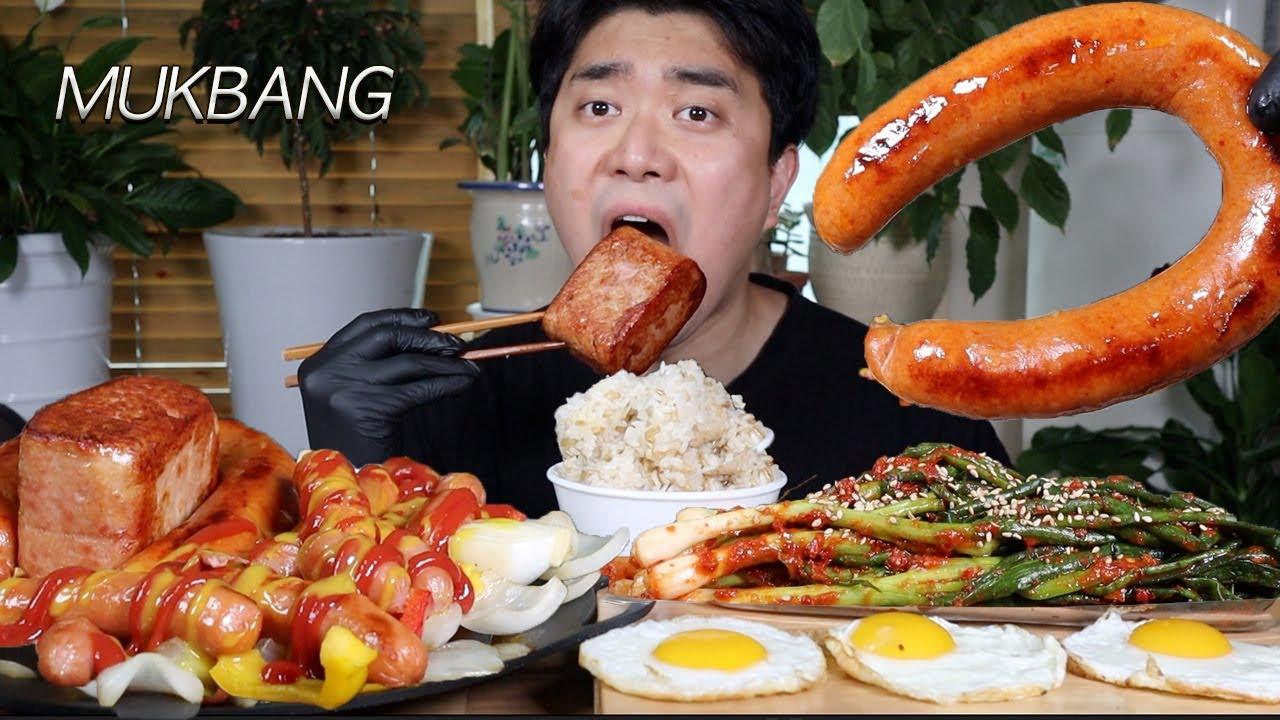 소세지 스페셜!! 고봉밥과 킬바사소세지, 통스팸, 비엔나소세지, 후랑크소세지 파김치 먹방ASMR MUKBANG Kielbasa Sausage & Spam EATING SHOW