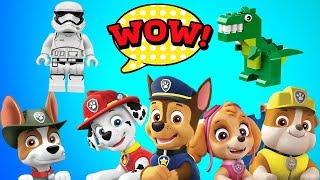 Surprise Toys Paw Patrol Defeat Dinosaur Jurassic World|Star Wars Darth Vader Help Red Egg
