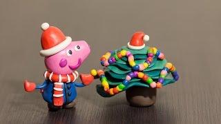 Лепка из пластилина. Свинка Пеппа и Новогодняя Ёлка!