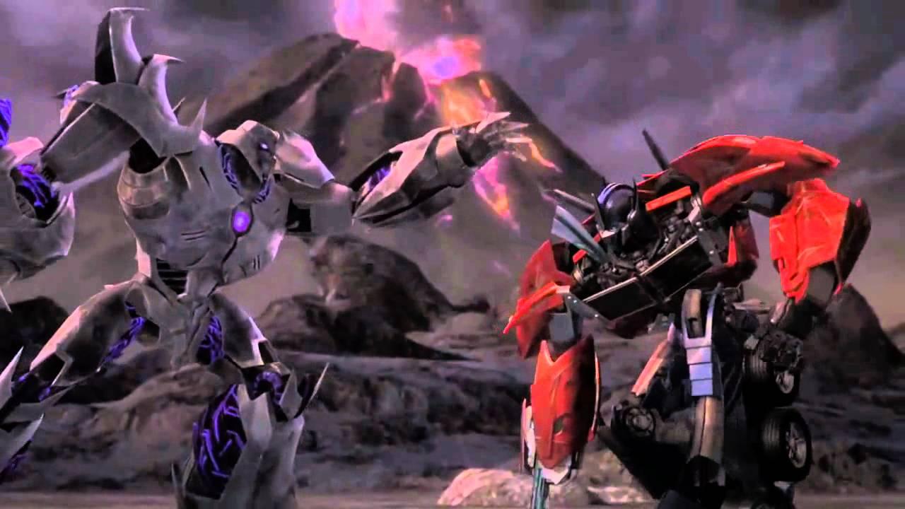 Tfp optimus prime vs megatron one shall fall youtube - Transformers prime megatron ...