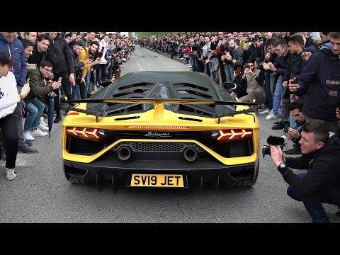 6x Lamborghini Aventador SVJ MAD Revs, Launch Control & Flames + CRAZY Crowd!!