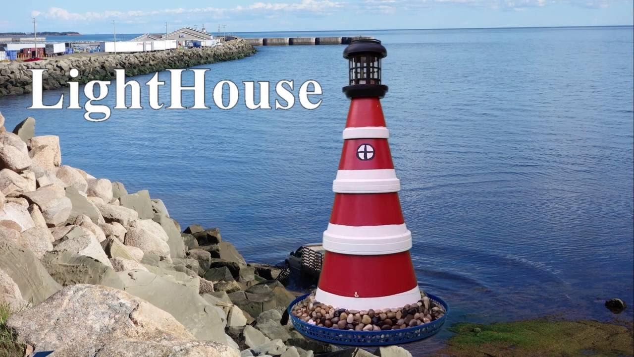 Flower pot Light House in my backyard - YouTube on clay pot lighthouse, diy flower pot lighthouse, plant container lighthouse, cat pot lighthouse,