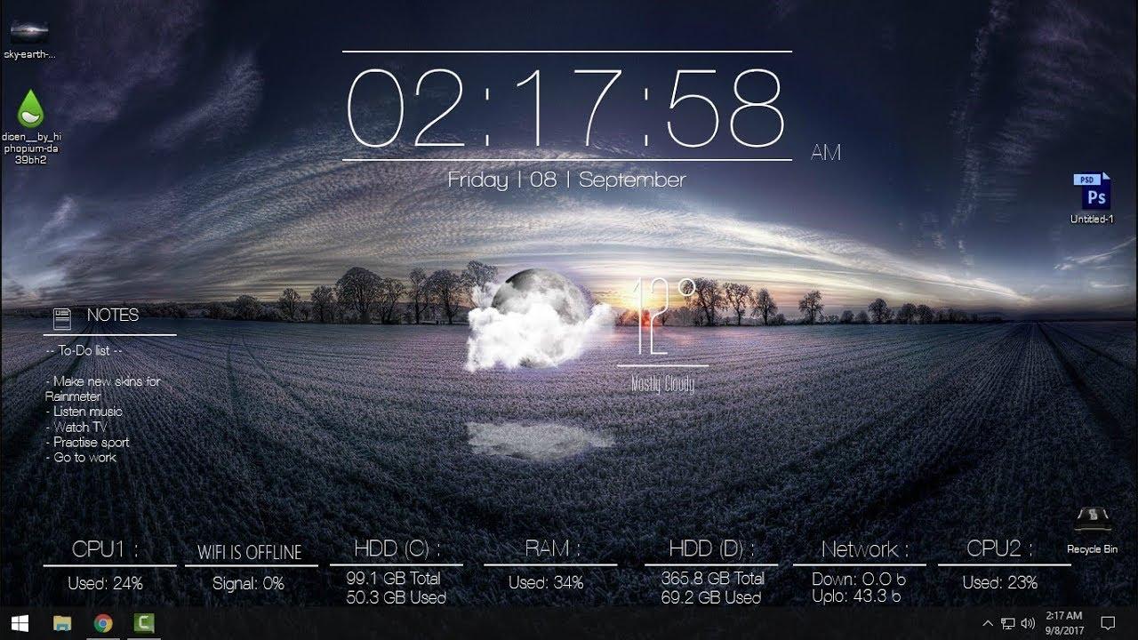Windows 10 Desktop Uhr