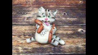 кот обжора из мастики