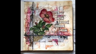 Journal With Me ~ Art Journal Process (Floral)