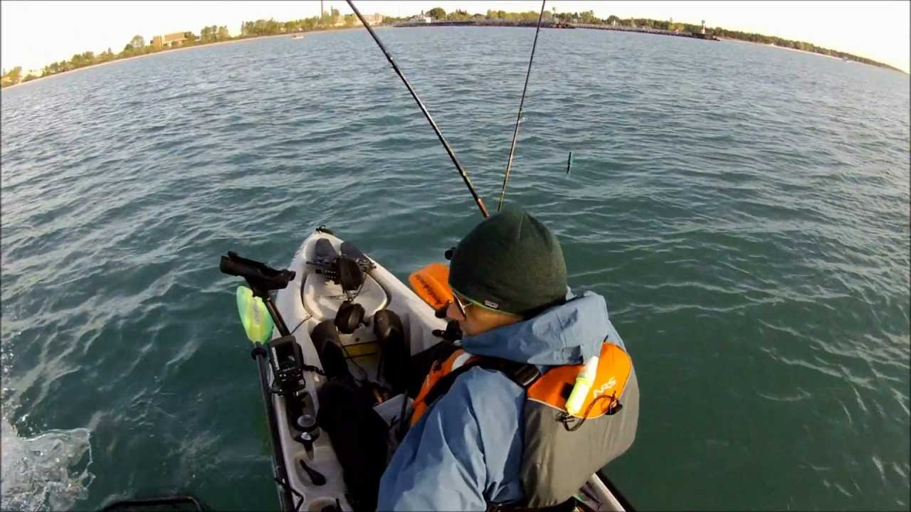 Kayak Fishing Lake Michigan King Salmon Youtube