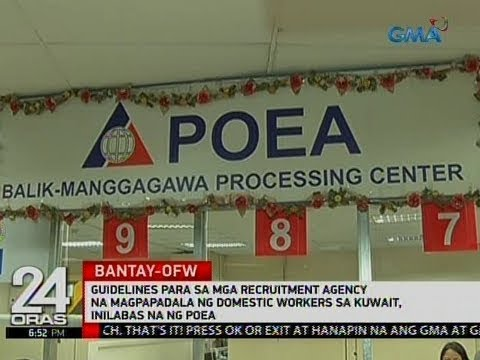 Guidelines para sa mga recruitment agency na domestic workers sa Kuwait, inilabas ng POEA