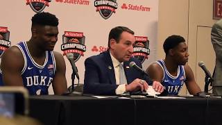 Coach K, Zion Williamson, J.R. Barrett break down big win over Kentucky