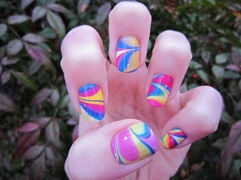 groovy spring time water marbling