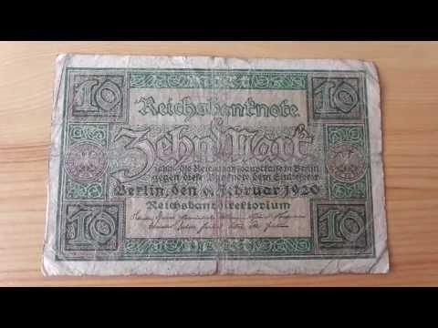 Reichsbanknote über 10 Mark von 1920 - Old german money