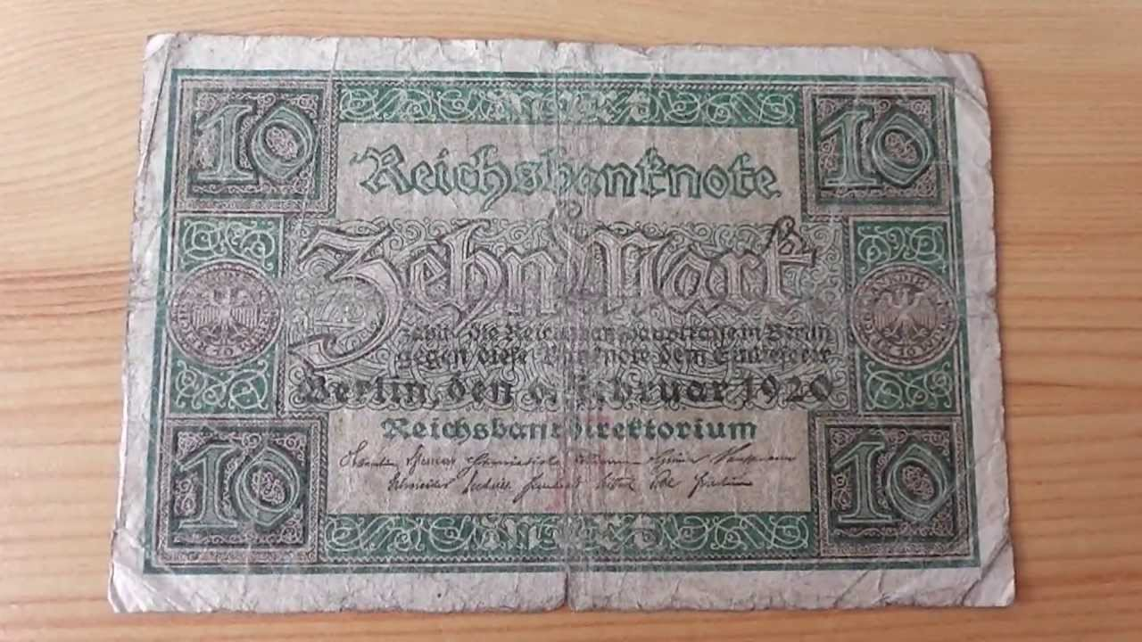 Reichsbanknote über 10 Mark von 1920 - Old german money ...  Reichsbanknote ...