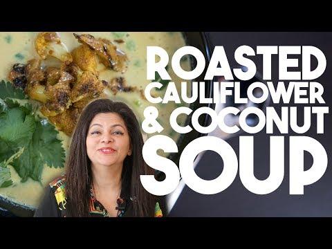 Roasted CAULIFLOWER & COCONUT Soup | Velvety lightly spiced flavors | Kravings
