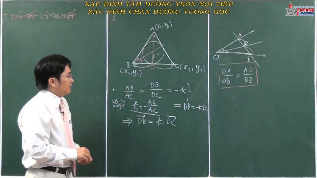 Hình học 10 – Chương 2 – Xác định tâm đường tròn nội tiếp, xác định chân đường vuông góc