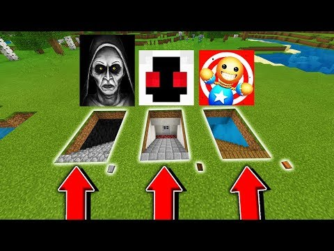 Minecraft PE : DO NOT CHOOSE THE WRONG SECRET BASE! (SCARY NUN, ENTITY 303, KICK THE BUDDY)