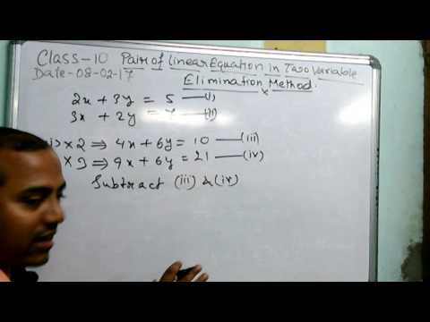 Class 10 Pair Of Linear Equations In Two Variables (Elimination method) Part 4