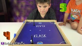 HobbyKidsTV plays Klask, the Magnetic Table Hockey Game!