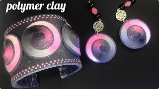 DIY Polymer Clay Bracelet and Earrings. Spiral Cane Tutorial.