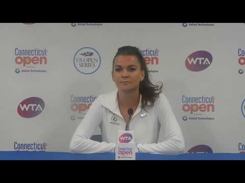 Agnieszka Radwanska reacts to her quarterfinal victory at the CT Open